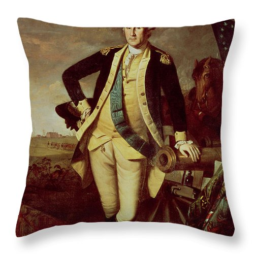 Portrait Throw Pillow featuring the painting Portrait Of George Washington by Charles Willson Peale