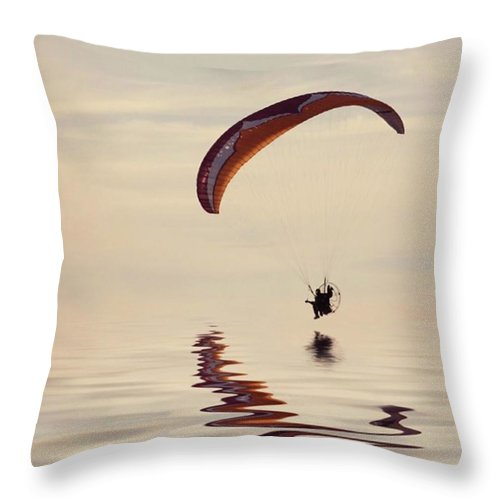 Flyinghigh Throw Pillow featuring the photograph Powered Paraglider by John Edwards