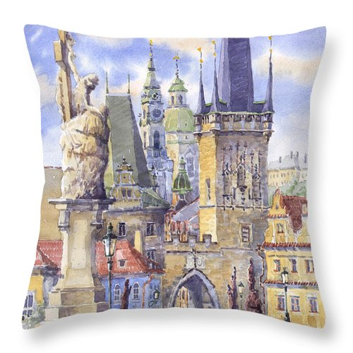 Watercolour Throw Pillow featuring the painting Prague Charles Bridge by Yuriy Shevchuk