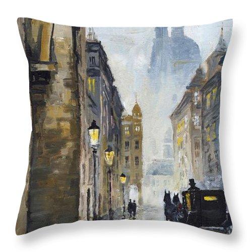 Prague Throw Pillow featuring the painting Prague Old Street 01 by Yuriy Shevchuk
