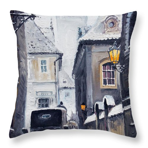 Oil Throw Pillow featuring the painting Prague Old Street 02 by Yuriy Shevchuk