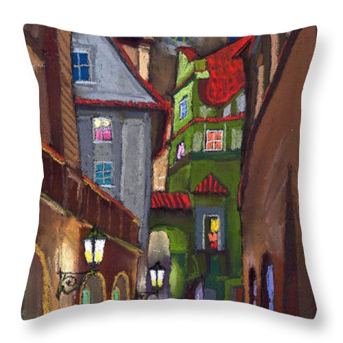 Pastel Throw Pillow featuring the painting Prague Old Street by Yuriy Shevchuk
