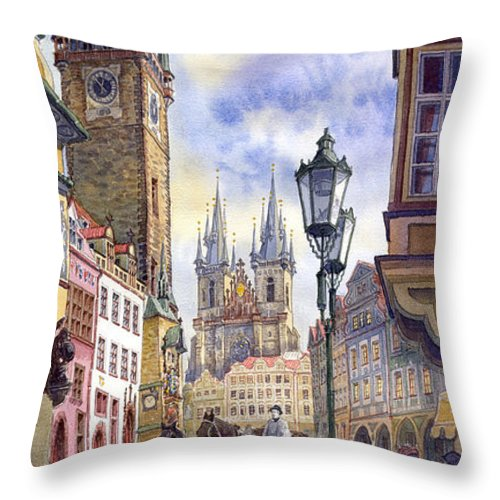 Watercolour Throw Pillow featuring the painting Prague Old Town Square 01 by Yuriy Shevchuk