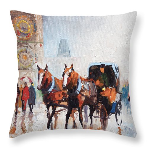 Prague Throw Pillow featuring the painting Prague Old Town Square by Yuriy Shevchuk