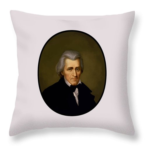Andrew Jackson Throw Pillow featuring the painting President Andrew Jackson - Two by War Is Hell Store
