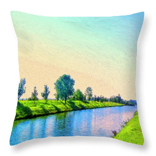 Provence Canal Throw Pillow featuring the painting Provence Canal by Dominic Piperata