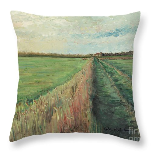 Provence Throw Pillow featuring the painting Provence Villa by Nadine Rippelmeyer
