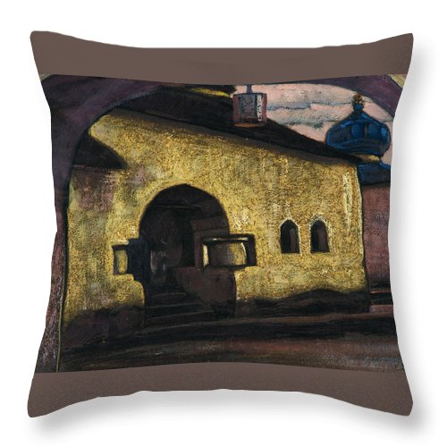 Architectural Throw Pillow featuring the painting Pskov by Nicholas Roerich