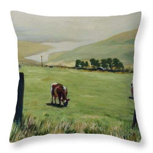 Landscape Throw Pillow featuring the painting Pt. Reyes by Rick Nederlof