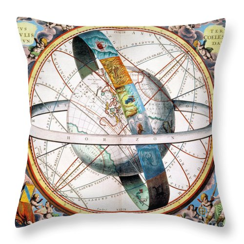 1660 Throw Pillow featuring the photograph Ptolemaic Universe, 1660 by Granger