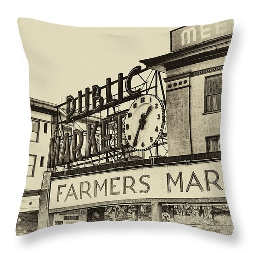 Pike Place Market Throw Pillow featuring the photograph Public Market by David Patterson