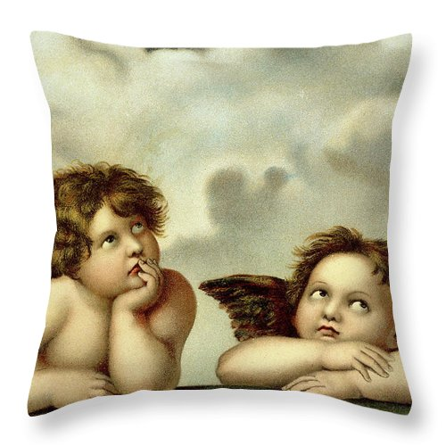 Winged Cherubim Throw Pillow featuring the painting Putti Detail From The Sistine Madonna by Raphael