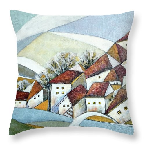 Abstract Throw Pillow featuring the painting Quiet Village by Aniko Hencz