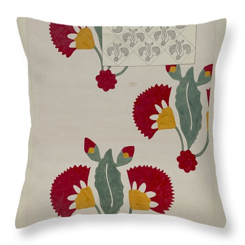 Throw Pillow featuring the drawing Quilt by Dorothy Posten