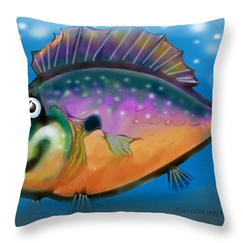 Fish Throw Pillow featuring the greeting card Rainbow Fish by Kevin Middleton