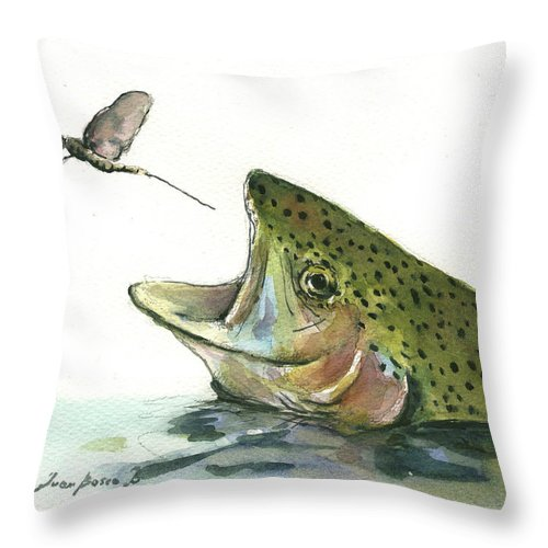 Rainbow Trout Throw Pillow featuring the painting Rainbow trout by Juan Bosco