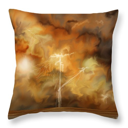 Anne Norskog Throw Pillow featuring the painting Raw Power by Anne Norskog