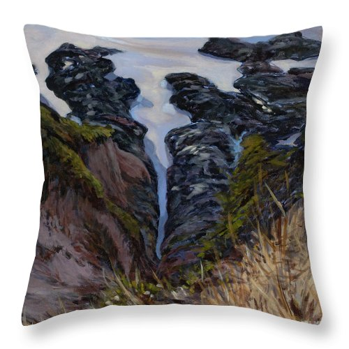Landscape Throw Pillow featuring the painting Receding Tide by Betsee Talavera