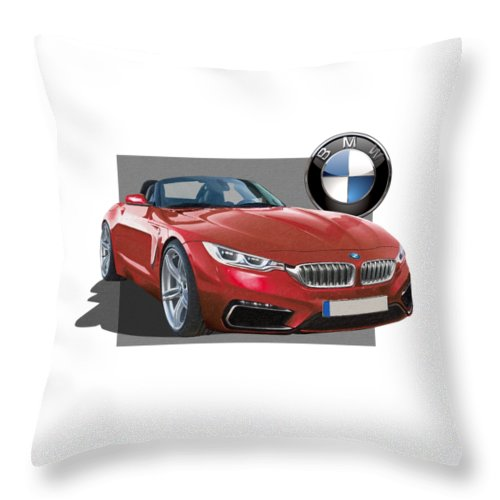 �bmw� Collection By Serge Averbukh Throw Pillow featuring the photograph Red 2018 B M W Z 5 with 3 D Badge by Serge Averbukh