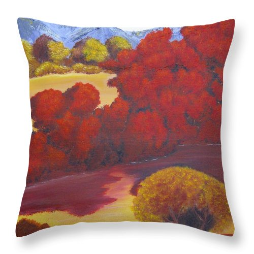 Landscape Throw Pillow featuring the painting Red Autumn by Debbie Levene