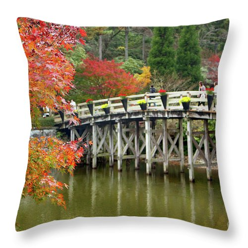 Autumn Throw Pillow featuring the photograph Red Autumn by Eena Bo