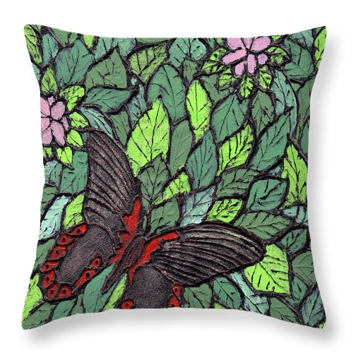 Butterfly Throw Pillow featuring the painting Red Butterfly by Wayne Potrafka
