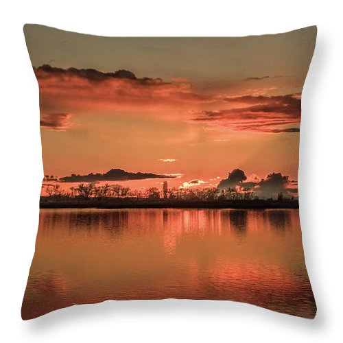 Reflections Throw Pillow featuring the photograph Red Glow by Robert Bales