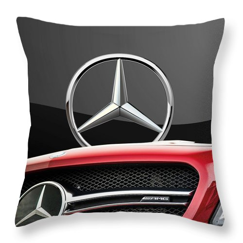'auto Badges' By Serge Averbukh Throw Pillow featuring the photograph Red Mercedes - Front Grill Ornament and 3 D Badge on Black by Serge Averbukh