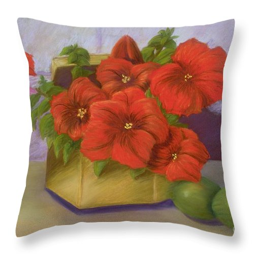 Flowers Throw Pillow featuring the painting Red Petunias in a Brass Box by Mary Erbert