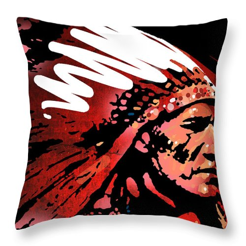 Native American Throw Pillow featuring the painting Red Pipe by Paul Sachtleben
