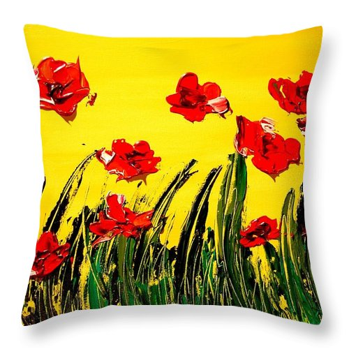 Red Poppies Throw Pillow featuring the painting Red Poppies by Mark Kazav