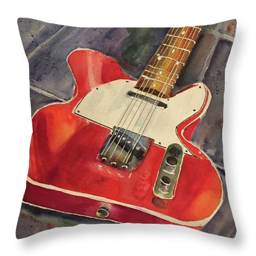 Red Telecaster Throw Pillow featuring the painting Red Telecaster by Bonny Butler