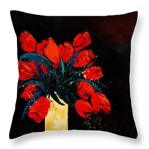 Flowers Throw Pillow featuring the painting Red Tulips by Pol Ledent