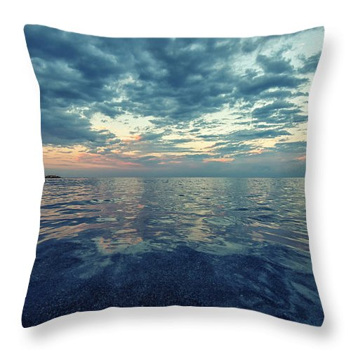 Sea Throw Pillow featuring the photograph Reflections by Stelios Kleanthous