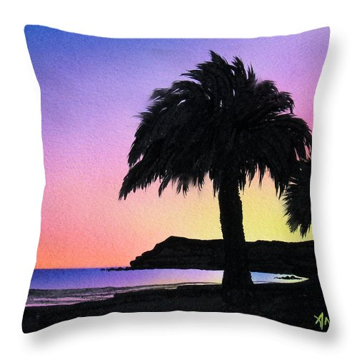 Beach Throw Pillow featuring the painting Refugio Point 1 by Angie Hamlin
