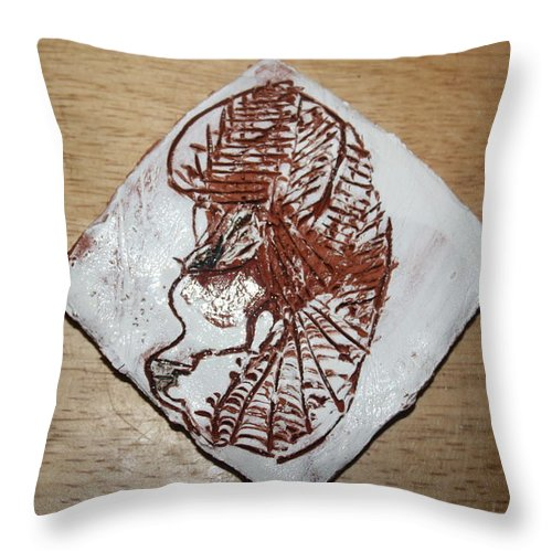 Jesus Throw Pillow featuring the ceramic art Repose - Tile by Gloria Ssali