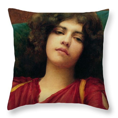 Reverie Throw Pillow featuring the painting Reverie 1 by John William Godward