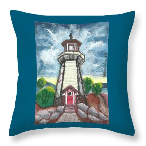 Lighthouse Throw Pillow featuring the painting River Rouge Memorial Lighthouse by Monica Resinger