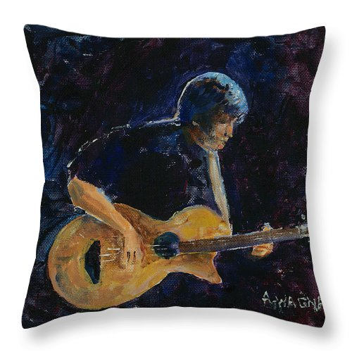 Guitar Throw Pillow featuring the painting Rock N Roll by Arline Wagner