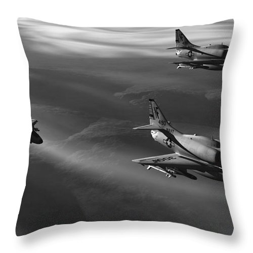 Aviation Art Throw Pillow featuring the digital art Rolling Thunder by Richard Rizzo