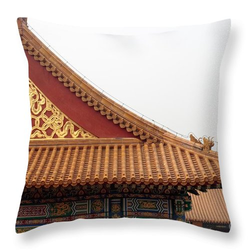 China Throw Pillow featuring the photograph Roof Forbidden City Beijing China by Thomas Marchessault