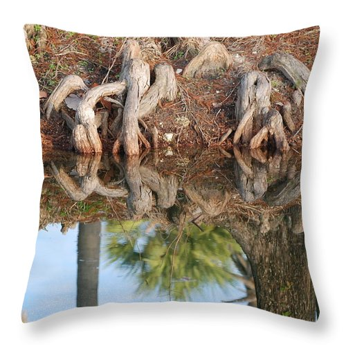 Roots Throw Pillow featuring the photograph Rooted Reflections by Rob Hans