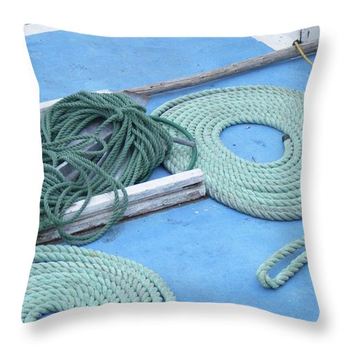 Ropes Throw Pillow featuring the photograph Ropes And Bolt Hook by Barbara Griffin
