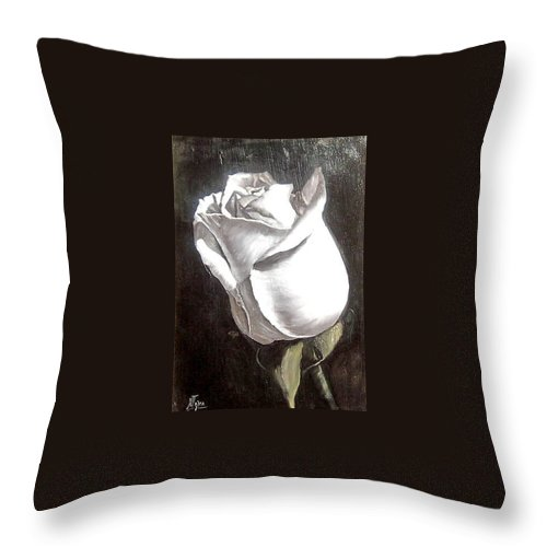 Flower Rose Still Life Throw Pillow featuring the painting Rose 2 by Natalia Tejera