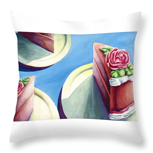 Rose Cake Throw Pillow featuring the painting Rose Cake by Jennifer McDuffie