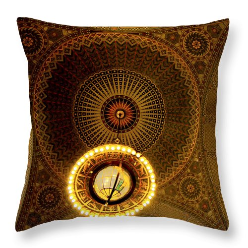Chandelier Throw Pillow featuring the photograph Rotunda Ceiling Light by Joseph Hollingsworth