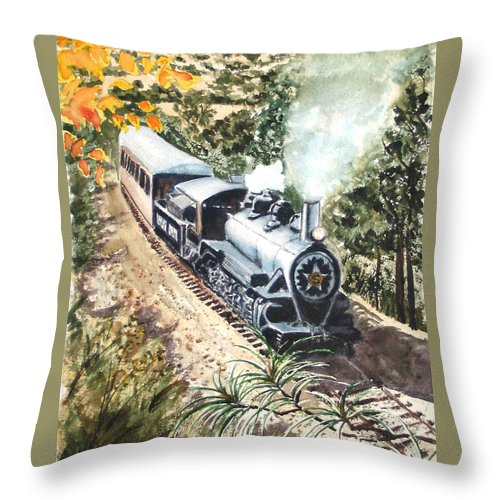 Trains Throw Pillow featuring the painting Round The Bend by Karen Ilari
