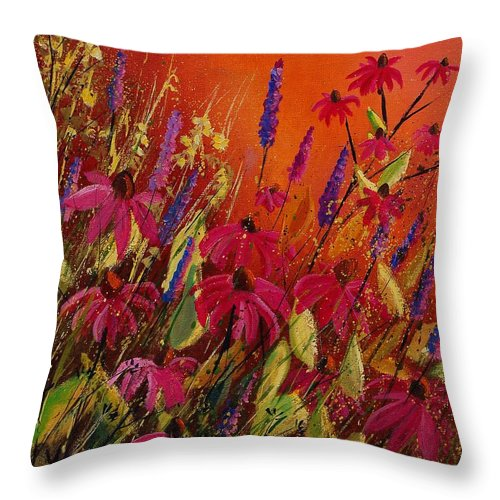 Flowers Throw Pillow featuring the painting Rudbeckias And Lyatris by Pol Ledent
