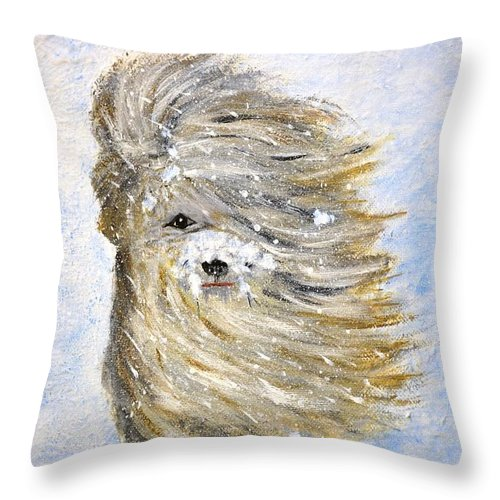 Dog Throw Pillow featuring the painting Rufus In The Snow by Patricia Novack