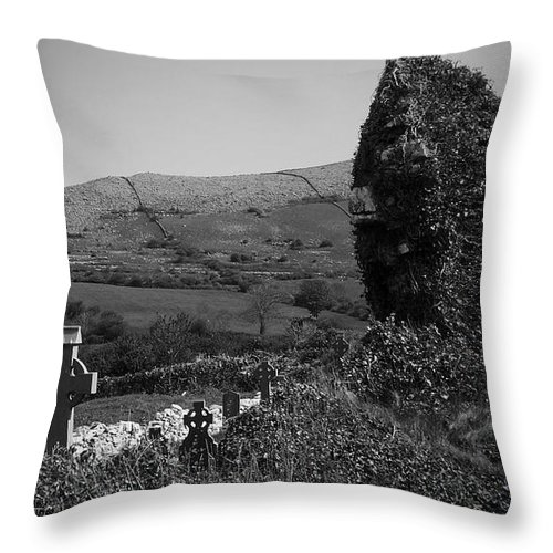 Irish Throw Pillow featuring the photograph Ruins In The Burren County Clare Ireland by Teresa Mucha